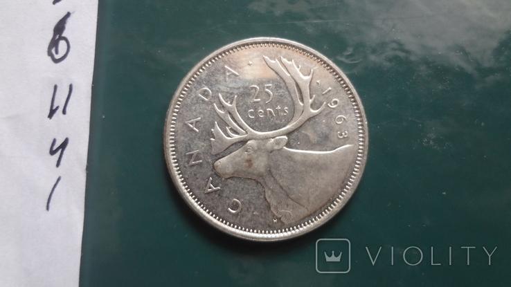 25 центов 1963 Канада серебро (11.4.1)~, фото №4