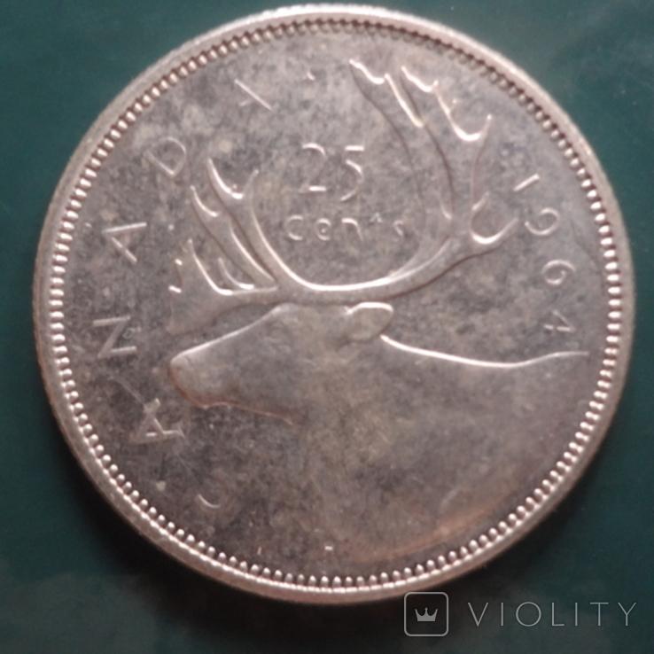25 центов 1964 Канада серебро (11.4.6)~, фото №2