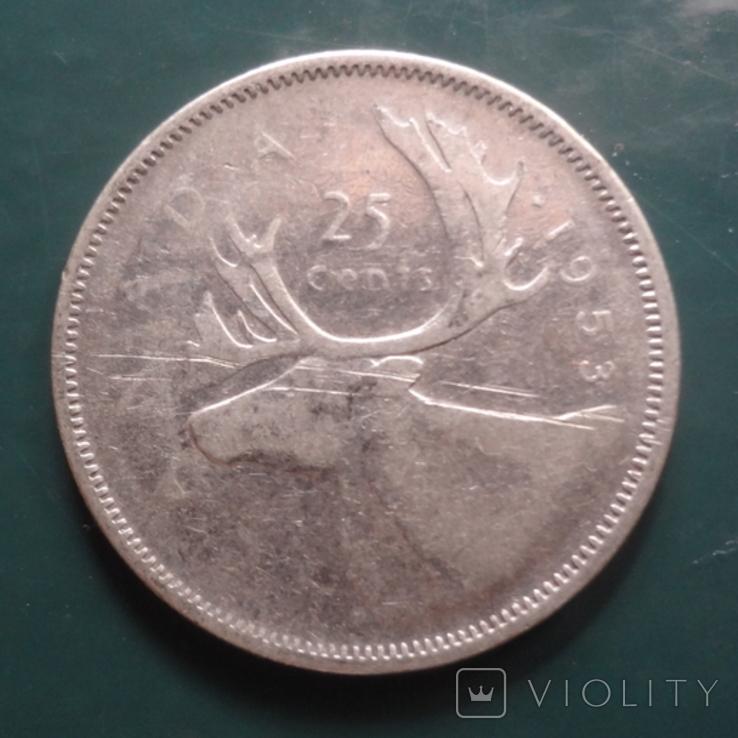 25 центов 1953 Канада серебро (11.5.2)~, фото №2