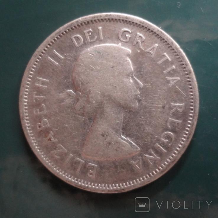 25 центов 1953 Канада серебро (11.5.2)~, фото №4