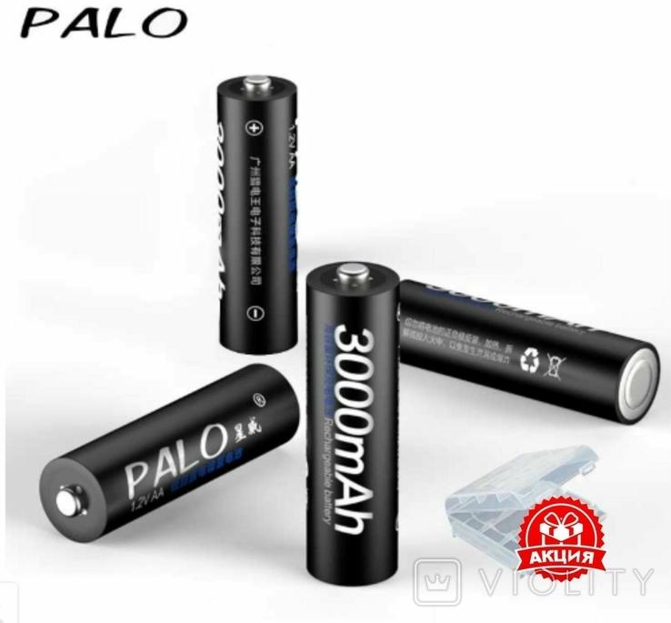 Аккумуляторы Palo АА 3000mAh 4 шт + футляр, фото №3