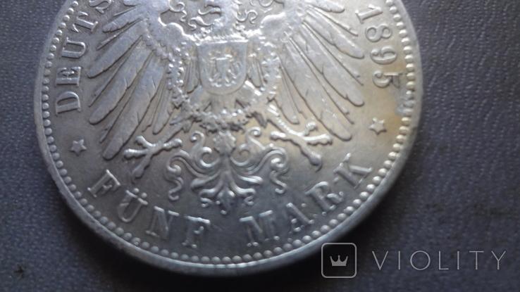 5 марок 1895 Саксония серебро (Ж.3.9)~, фото №7