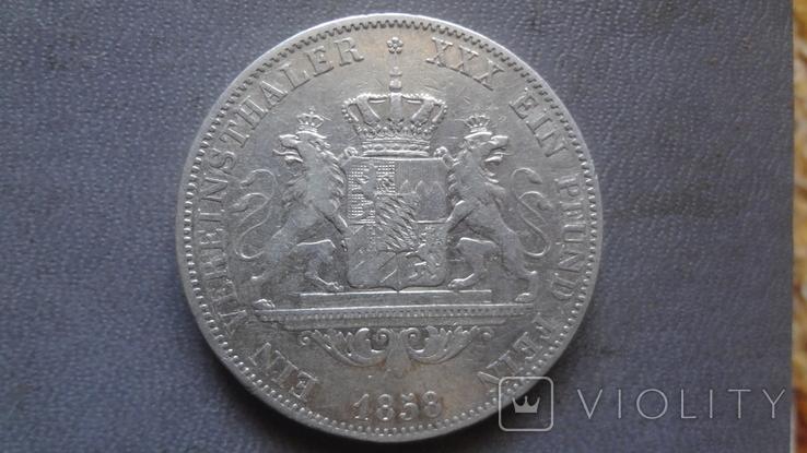 Талер 1858 Бавария серебро (Ж.3.14)~, фото №2