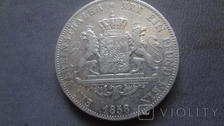 Талер 1858 Бавария серебро (Ж.3.14)~, фото №4