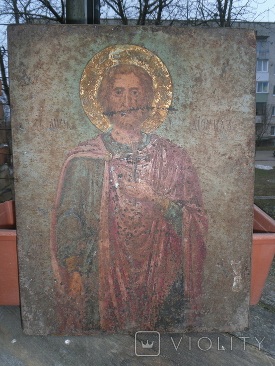 Икона на металле Святой мученик Диомид, фото №9