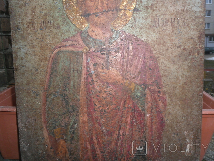 Икона на металле Святой мученик Диомид, фото №11
