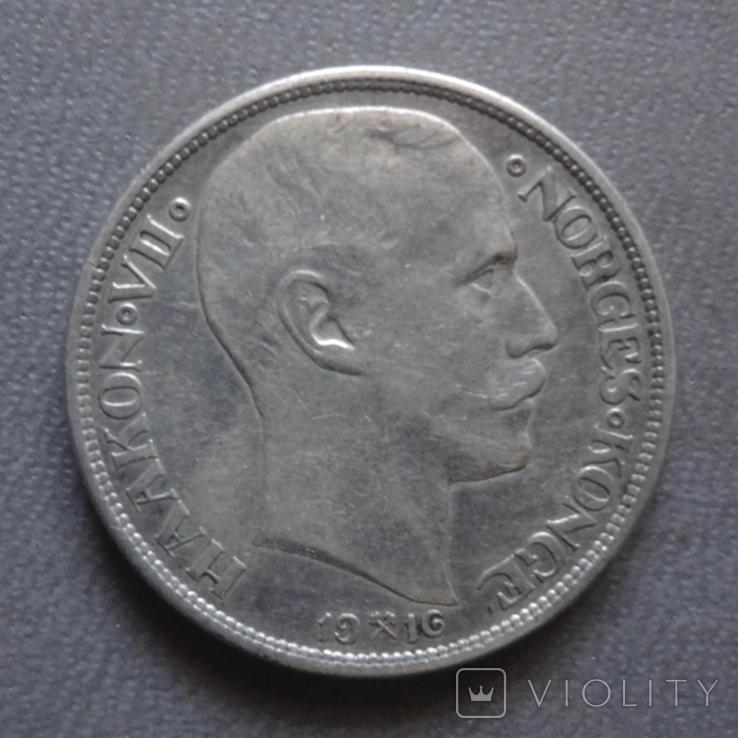 1 крона 1916 Норвегия серебро (Ж.2.13)~, фото №2