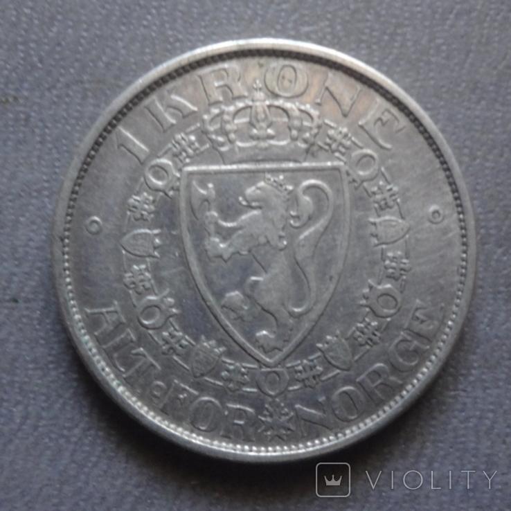 1 крона 1916 Норвегия серебро (Ж.2.13)~, фото №3