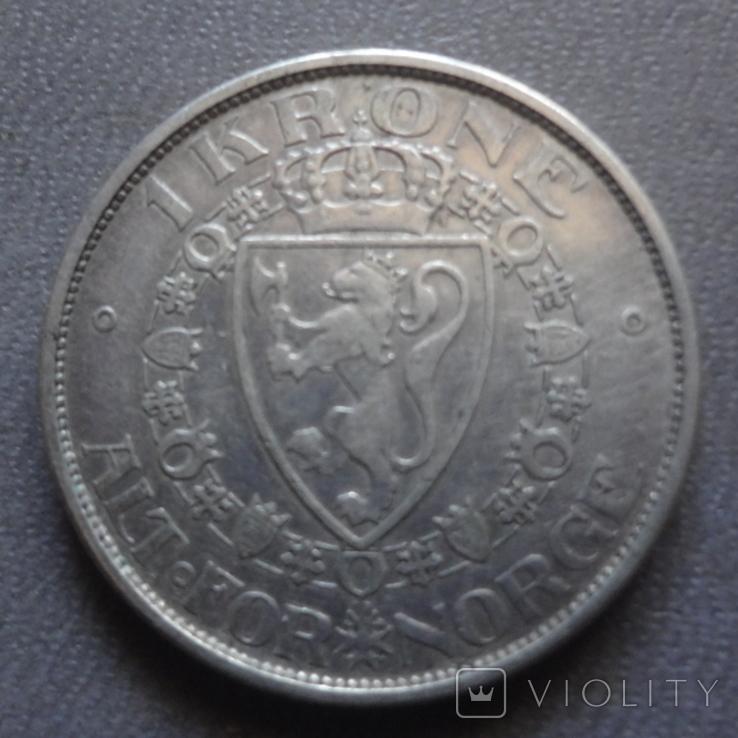 1 крона 1916 Норвегия серебро (Ж.2.13)~, фото №4