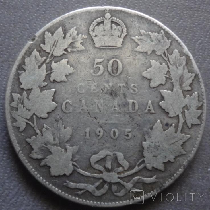 50 центов 1905 Канада тираж 40000 серебро (Ж.2.35)~, фото №2