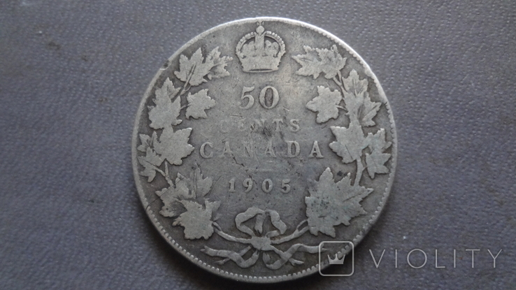 50 центов 1905 Канада тираж 40000 серебро (Ж.2.35)~, фото №3