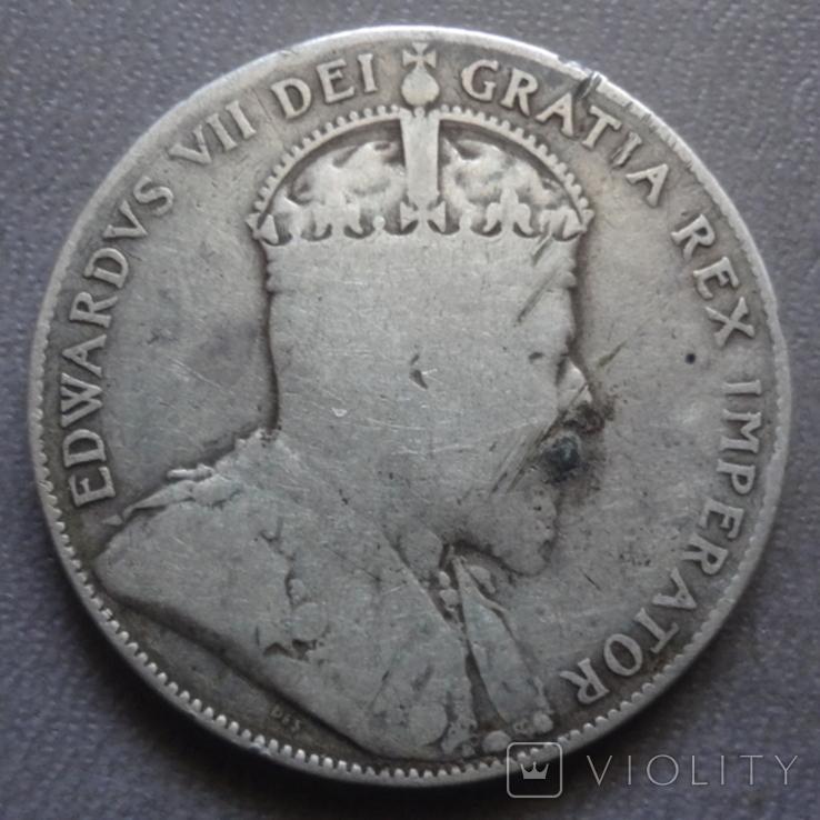 50 центов 1905 Канада тираж 40000 серебро (Ж.2.35)~, фото №4