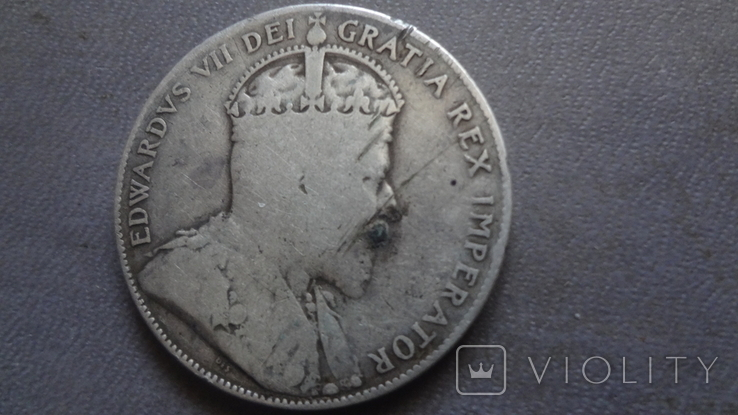 50 центов 1905 Канада тираж 40000 серебро (Ж.2.35)~, фото №5