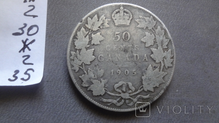 50 центов 1905 Канада тираж 40000 серебро (Ж.2.35)~, фото №6
