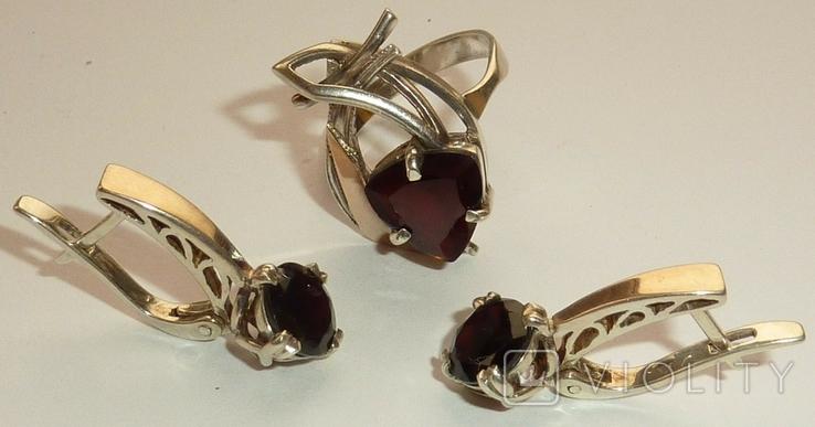 Женский серебряный набор с камнями темно-красного цвета, фото №2