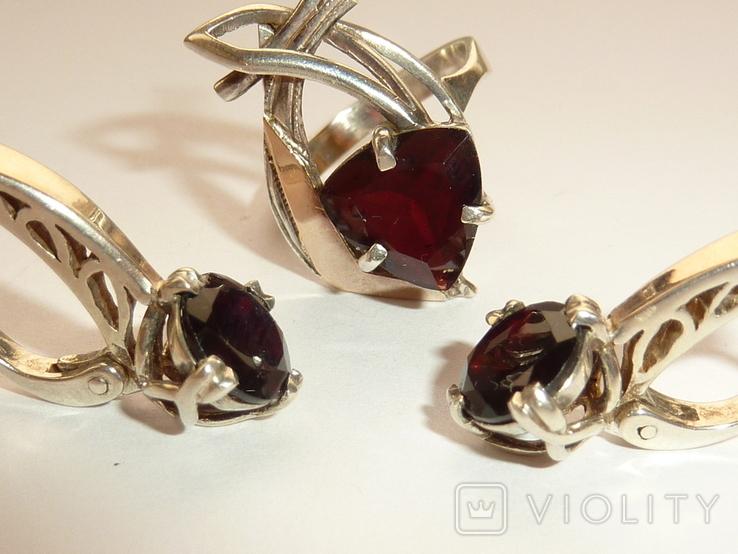 Женский серебряный набор с камнями темно-красного цвета, фото №3