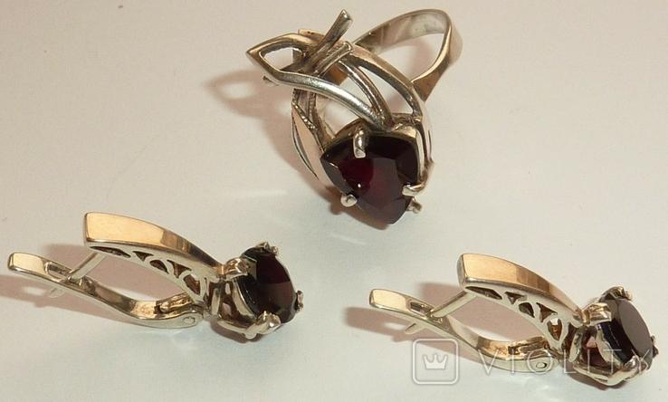 Женский серебряный набор с камнями темно-красного цвета, фото №4