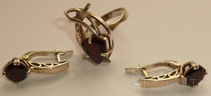 Женский серебряный набор с камнями темно-красного цвета, фото №5
