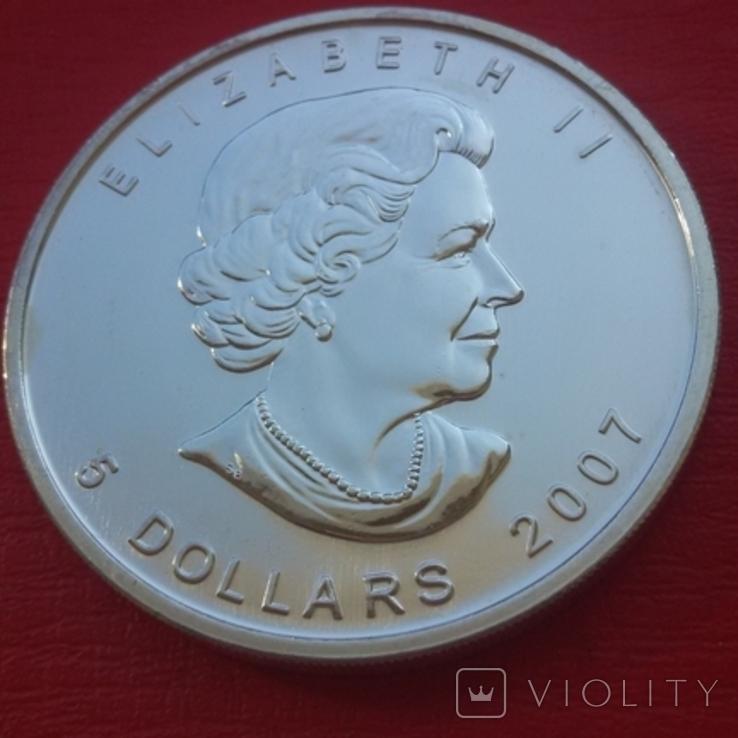 5 $ 2007 Канада унция 999,9 пробы, фото №2