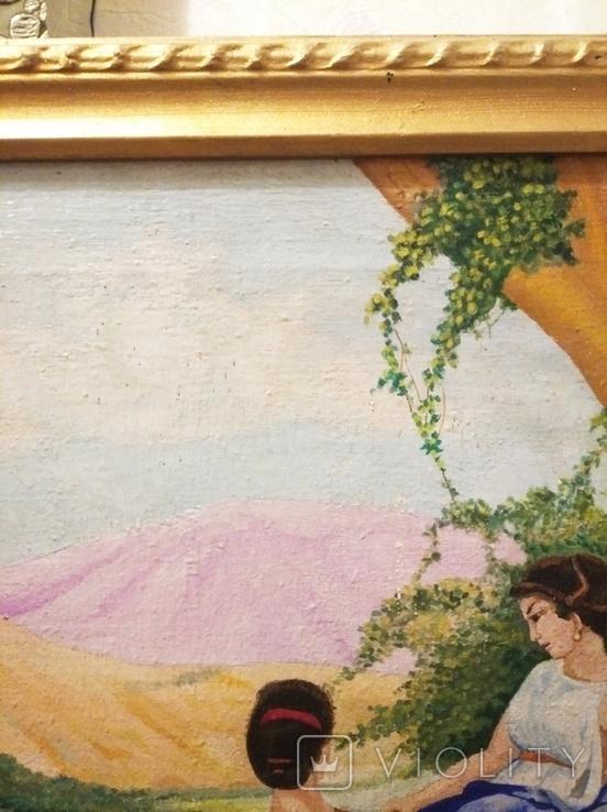 Старинная картина маслом на холсте., фото №5