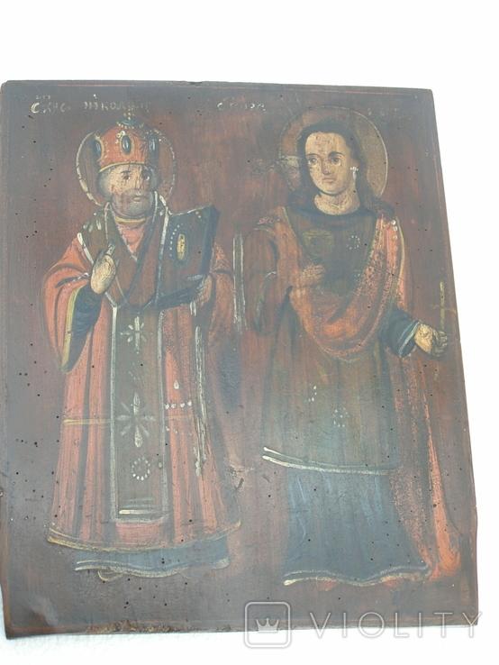 Икона св.микола и св.варвара 360мм Х 290мм, фото №2