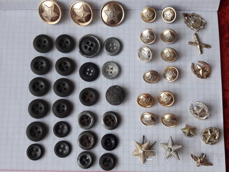 Пуговицы к амуниции разных периодов, звёздочки, более 40 шт, фото №2
