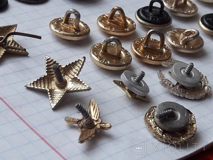 Пуговицы к амуниции разных периодов, звёздочки, более 40 шт, фото №13