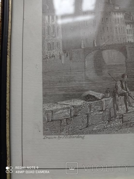 Старинная гравюра Мост Санта-Тринита Дж.Редеуей, фото №3