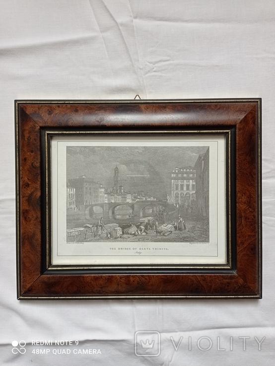 Старинная гравюра Мост Санта-Тринита Дж.Редеуей, фото №5