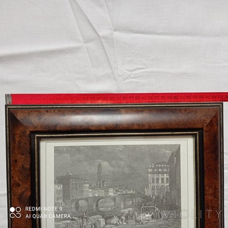 Старинная гравюра Мост Санта-Тринита Дж.Редеуей, фото №6