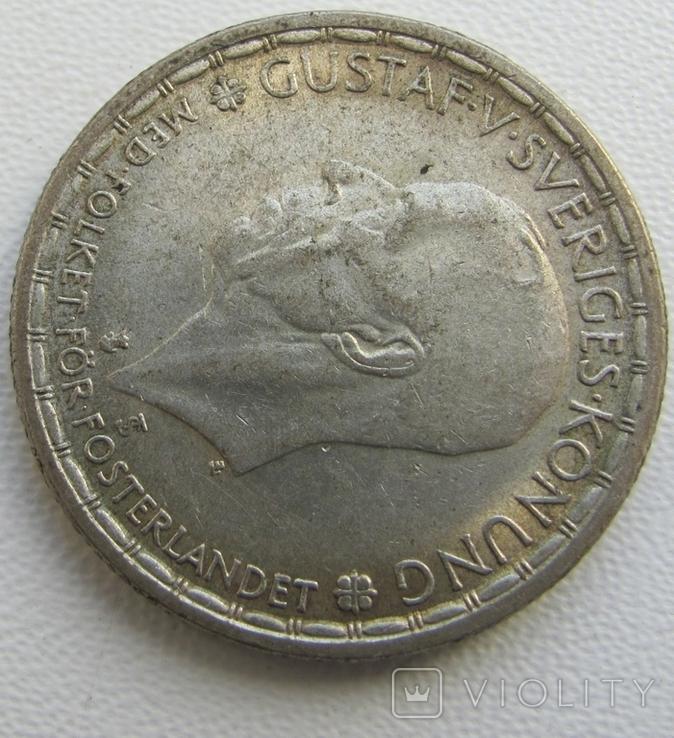 2 кроны 1946 г. Швеция серебро, фото №4