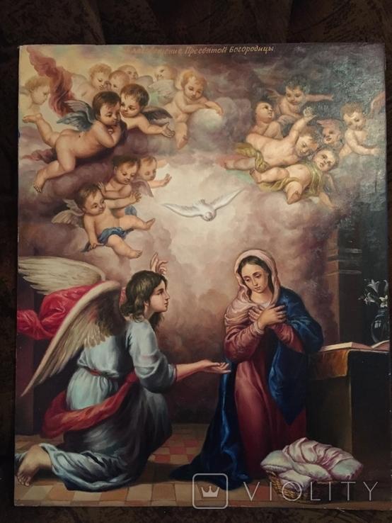 Икона Благовещение Пресвятой Богородицы Академическая живопись, фото №2