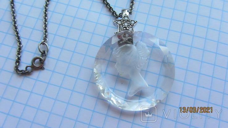Кулон. Камея. Серебро, хрусталь., фото №2