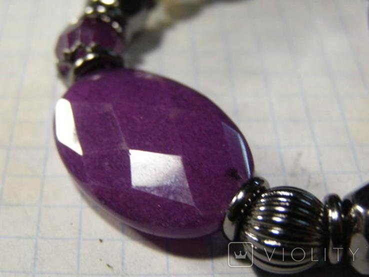Браслет камень стекло пластик, фото №3