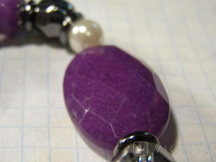 Браслет камень стекло пластик, фото №4