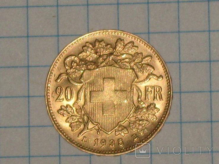 20 франков 1935 год. Швейцария, фото №3