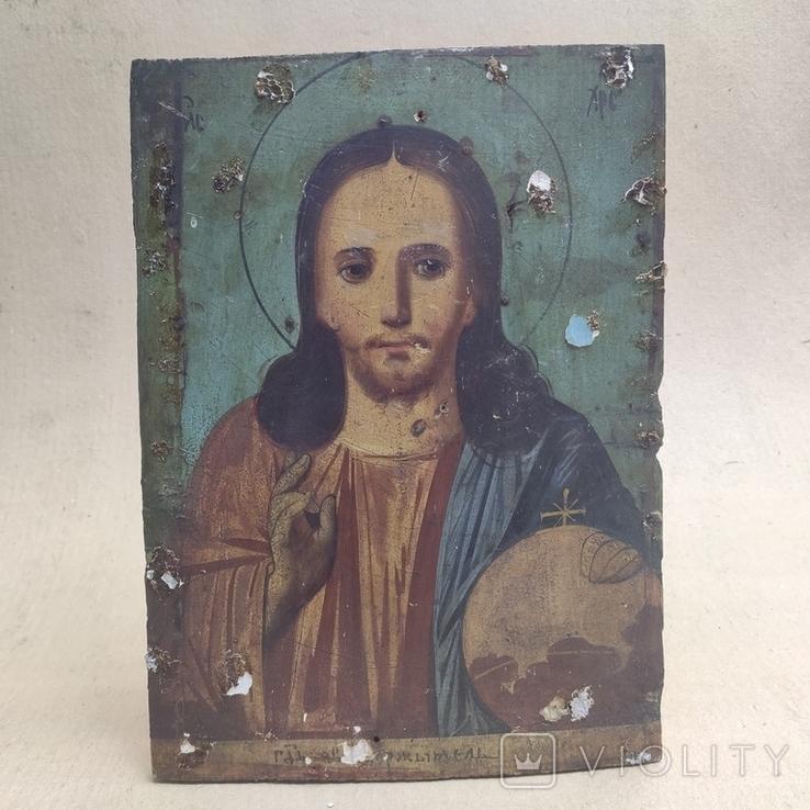 Господь Вседержитель. Икона. Живопись по левкасу. 30х22,5см., фото №2