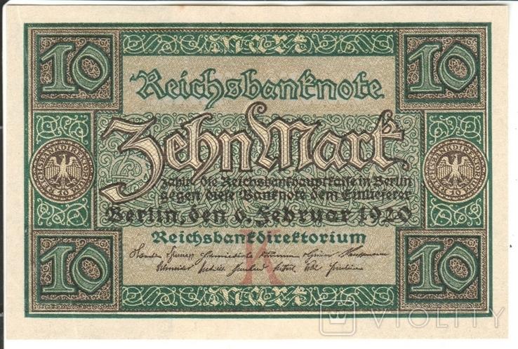 Германия 10 марок 1920, фото №2