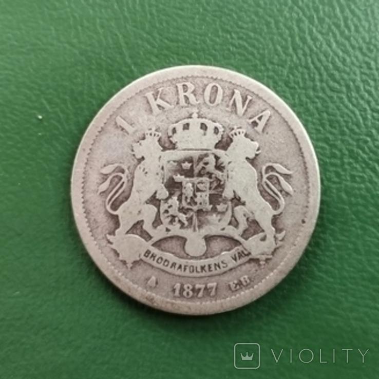Крона 1877 г.Швеция, фото №3