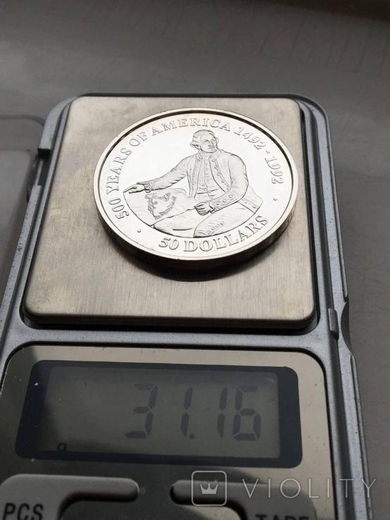 50 долларов о-ва Кука 1989 серебро, фото №3