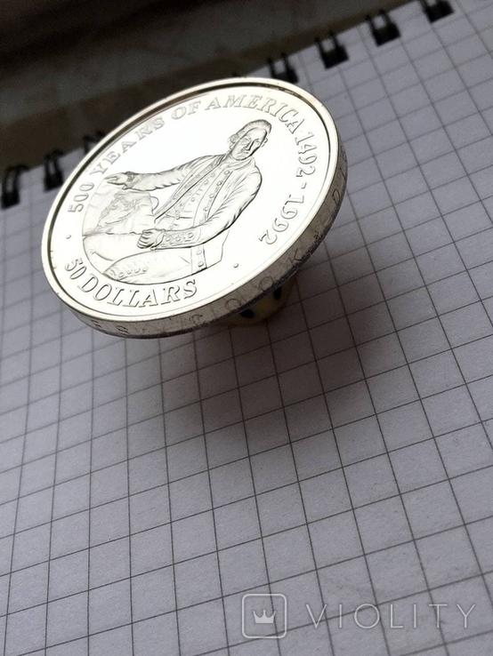 50 долларов о-ва Кука 1989 серебро, фото №5