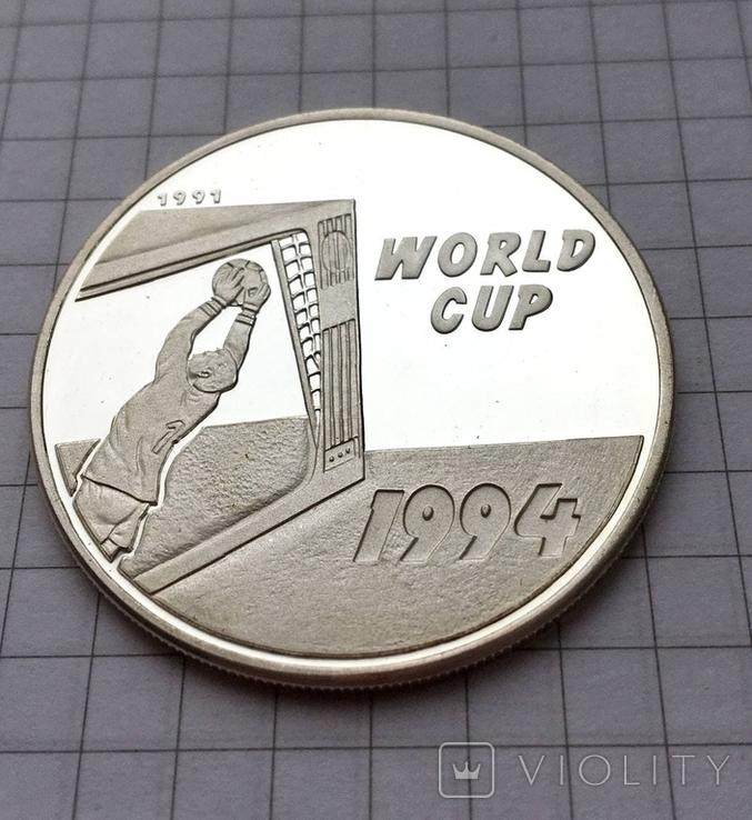 Монета Лаос 50 кип 1994 Чемпионат мира США 94 Серебро, фото №2