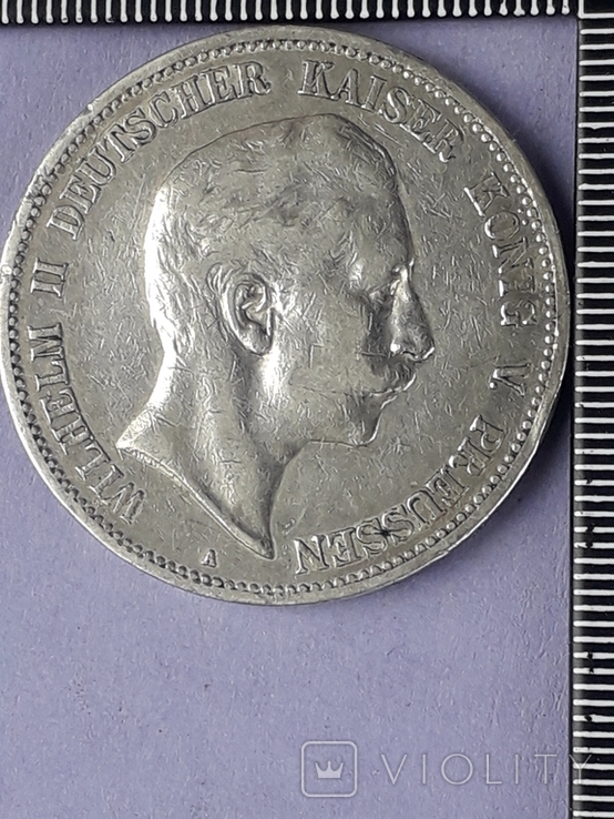5 марок, Пруссия, император Вильгель II, 1903 год, серебро 0.900, 27.77 грамм, фото №2