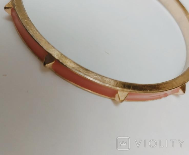 Браслет жесткий с розовой эмалью и пирамидками. США.( 11С022), фото №3