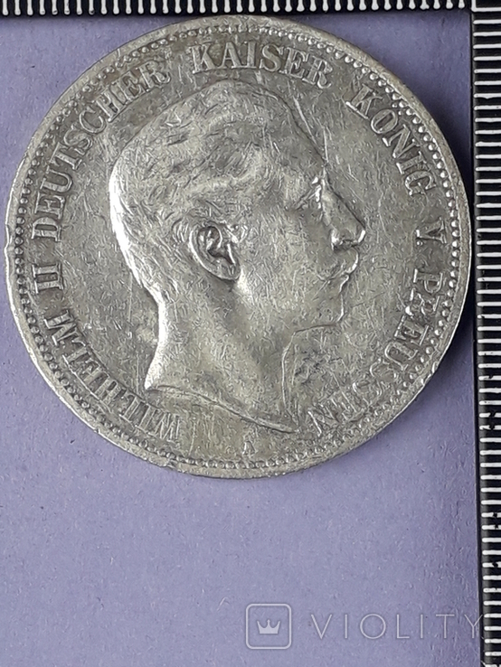 5 марок, Пруссия, император Вильгель II, 1907 год, серебро 0.900, 27.77 грамм, фото №2