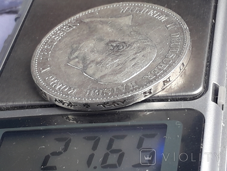 5 марок, Пруссия, император Вильгель II, 1907 год, серебро 0.900, 27.77 грамм, фото №4