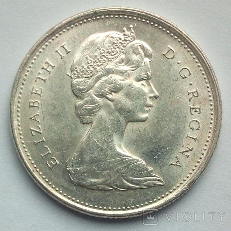 Канада 25 центов 1968 г. серебро, фото №2