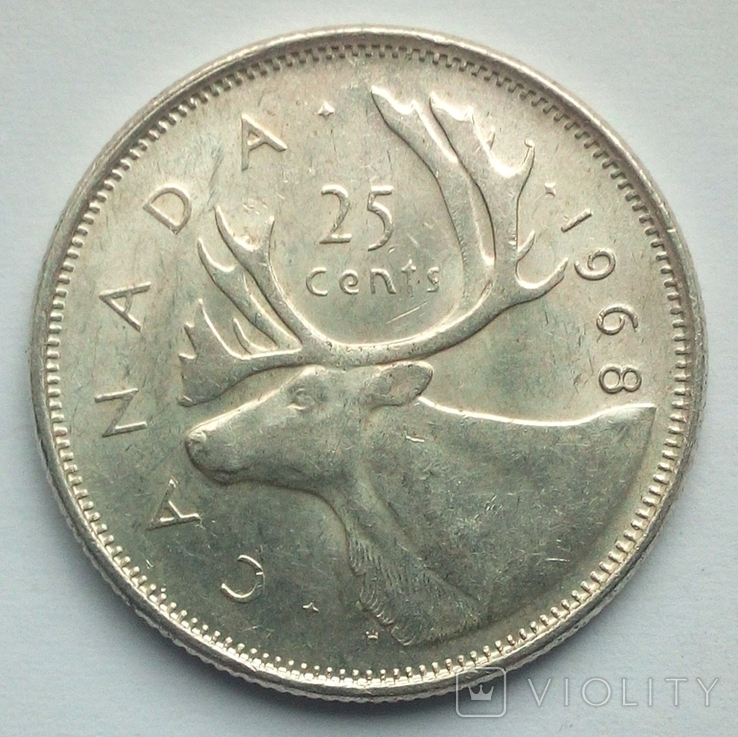 Канада 25 центов 1968 г. серебро, фото №3
