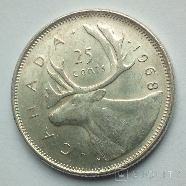 Канада 25 центов 1968 г. серебро, фото №7