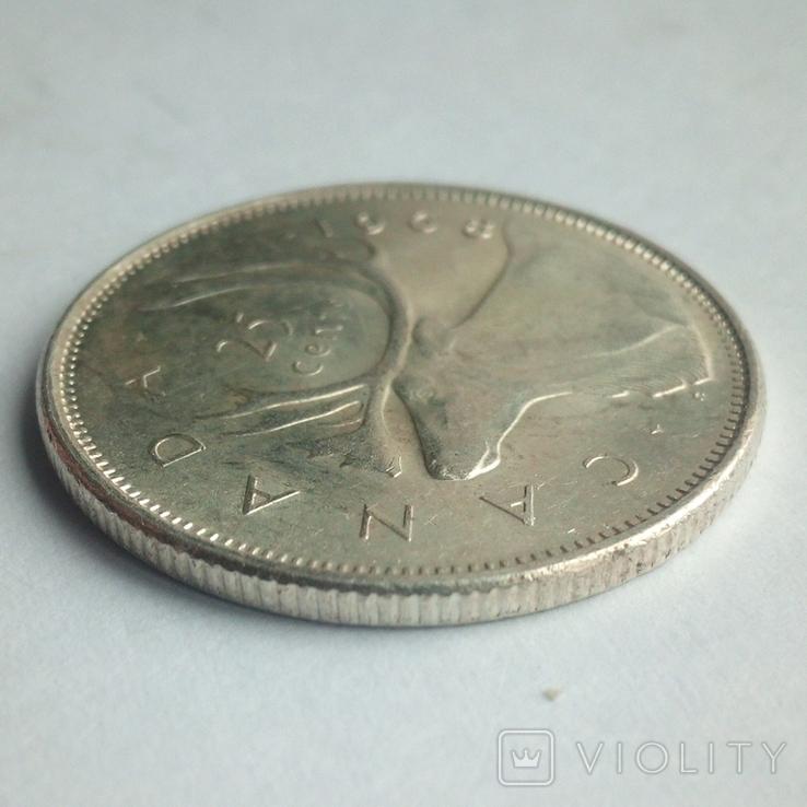 Канада 25 центов 1968 г. серебро, фото №8